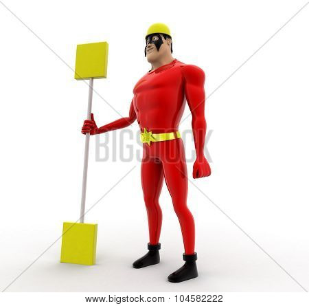 Superhero Holding Oar In Hand Concept