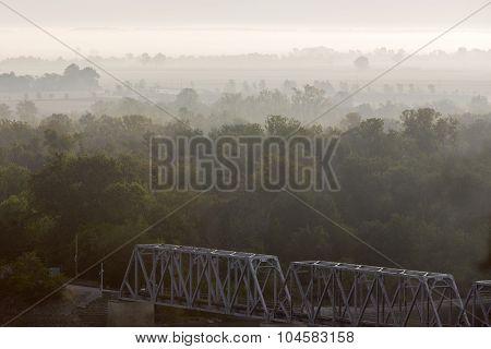 misty morning, bridge at Hannibal, Missouri