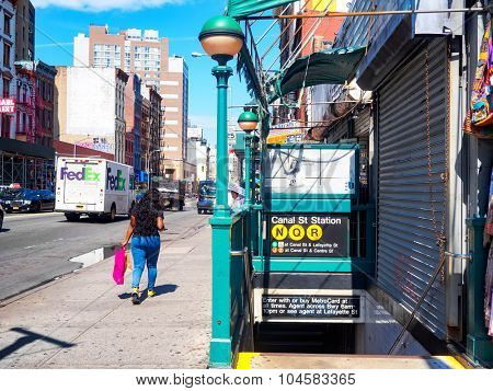 NEW YORK,USA - AUGUST 21,2015 : Entrance to Canal Street subway station at Chinatown in New York City