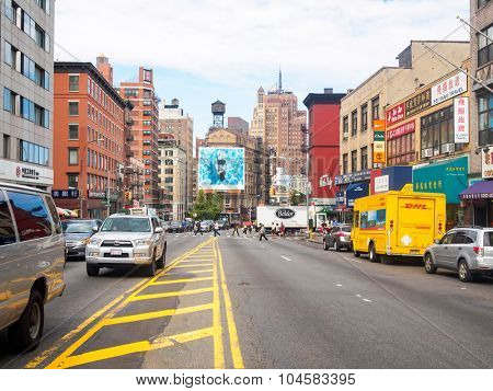 NEW YORK,USA - AUGUST 21,2015 : View of Canal Street at Chinatown in New York City