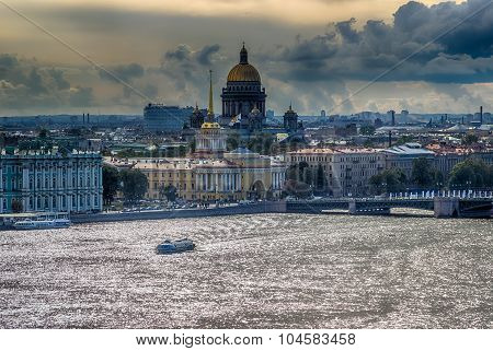 St. Isaac's Cathedral  Top View  Neva River  Building  Main Admiralty In Saint-petersburg
