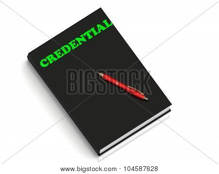 Credential- Inscription Of Green Letters On Black Book