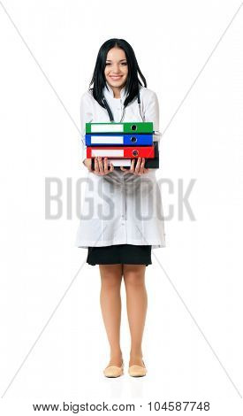 Female doctor holding a folders, isolated on white background