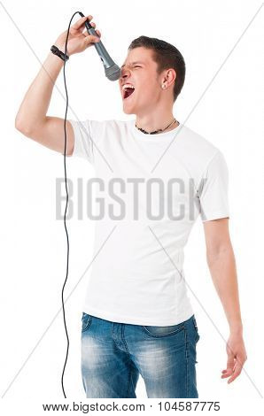 Young modern man with microphone isolated on white background