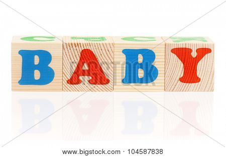 Baby word formed by wood alphabet blocks, isolated on white background