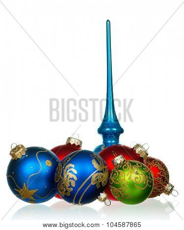 Set of baubles for christmas firtree on white background