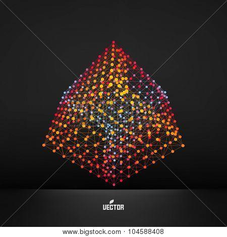 Cube. Molecular lattice. Connection structure. 3d Vector Illustration.