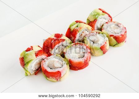 sushi with avocado and strawberry
