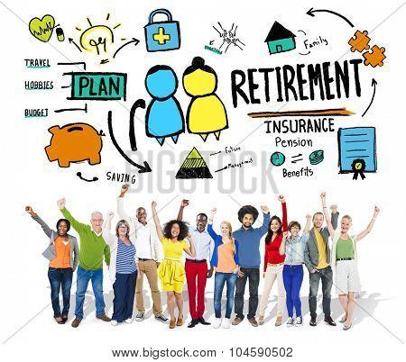 Diversity Casual People Retirement Celebration Career Goal Concept