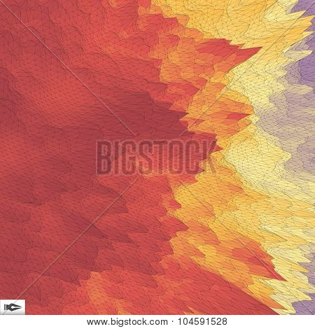 The Fire With Smoke. Mosaic. Vector Illustration. 3d Perspective Grid Background Texture.