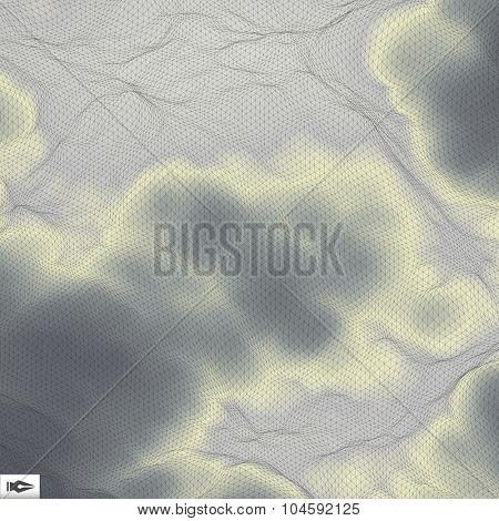 Grey Sky With Clouds. Mosaic. Abstract Mesh Background. 3d Vector Illustration.