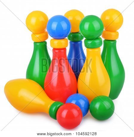 Colorful children bowling with five skittles and ball