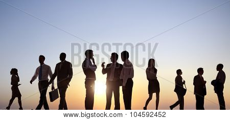 Business People Colleagues Walking Outdoors Concept