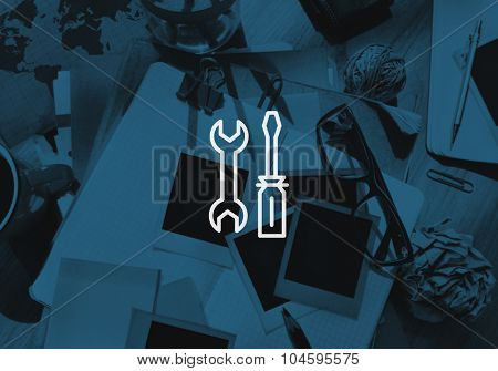 Mechanical Tools Equipment Engineering Service Concept