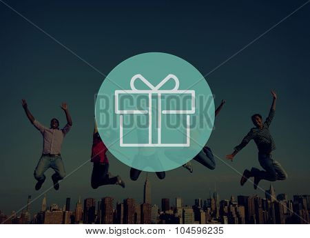 Present Gift Wrapped Ornament Package Celebrate Concept
