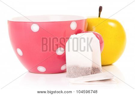Tea cup with teabag, isolated on white background