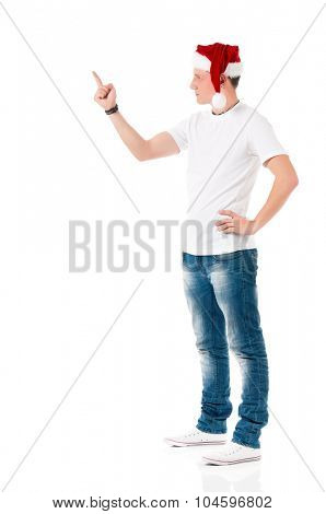 Caucasian man wearing christmas hat for santa isolated on white background