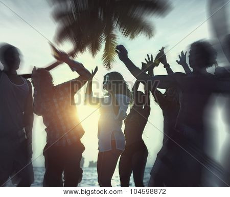 Dancing Party Enjoyment Celebration Outdoor Beach Concept