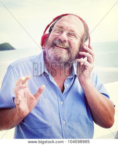 Man Headphones Listening Music Happiness Concept