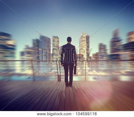 Businessman Corporate Cityscape Urban Scene City Building Concept