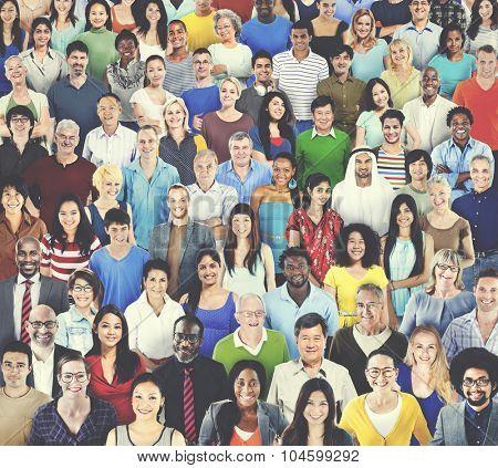 Multiethnic Variation Ethnicity Crowd People Concept