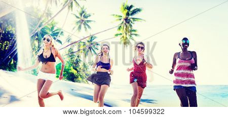 Women Friends Summer Beach Relaxing Concept