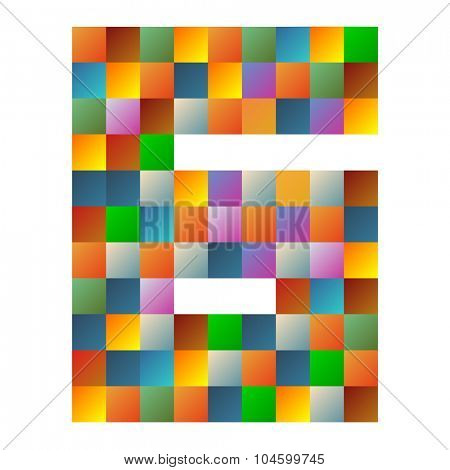 Six, letter rainbow colorful sparkling vector illustration