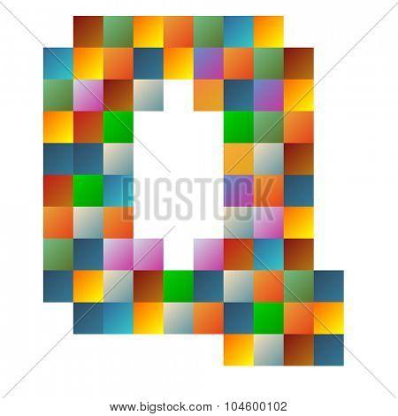 Quebec, letter rainbow colorful sparkling vector illustration