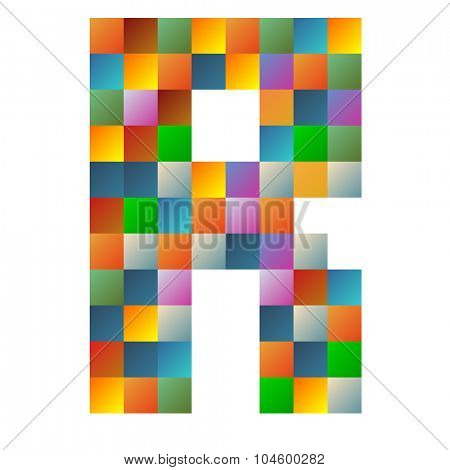 R, romeo letter rainbow colorful sparkling vector illustration