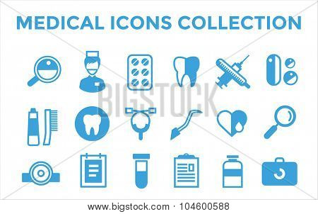 Medicine vector icons set. Doctor tools for health care. Medic first help, dentist tools icons. Vector helthcare icons set. Heart, doctor, tooth icon, medicine, pills, health and medical. Health icons