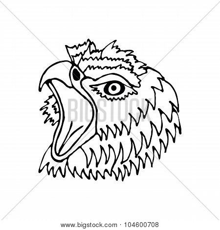 hand draw head screaming hawk can be used for , logos , icons, posters , printing on textiles