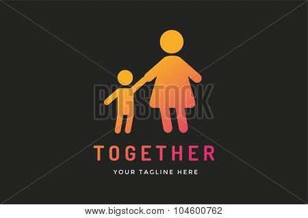 Happy family vector logo template, Baby and mother, family care logo. Child holding mother hands. Care logo, union family logo concept. Family logo, family vector icon. Happy family logo