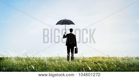 Businessman Holding Umbrella Security Outdoors Concept