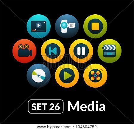 Flat icons vector set 26 - media collection