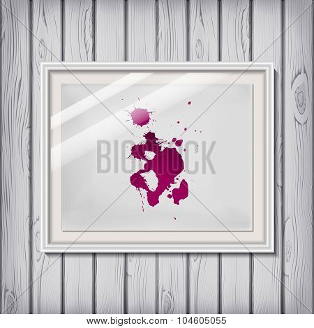 Picture Frame Template With Wine / Blood As Blotch / Blot / Blob / Brush On A White Paper In Vector