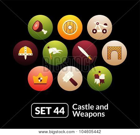 Flat icons set 44 - castle and wepon