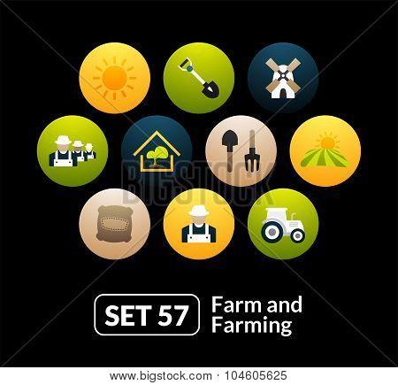 Flat icons set   - farm and farming
