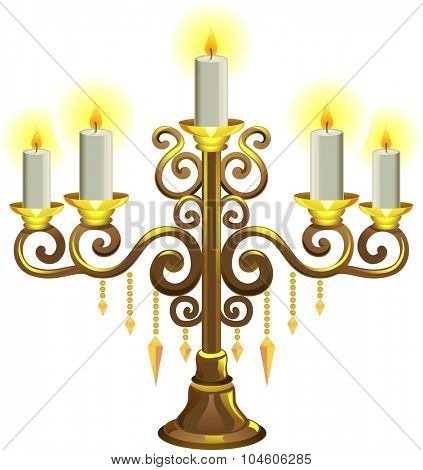 Illustration of a Golden Candelabra with Lit Candles
