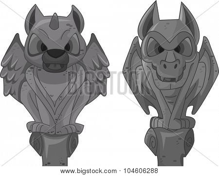Illustration of Gargoyle Statues Standing Vertically