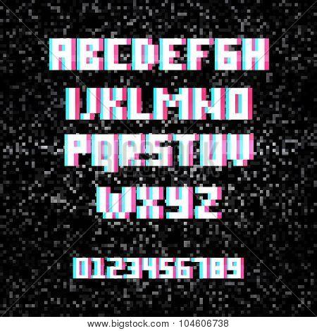 3D Stereo Effect Alphabet On Noisy Tv Background