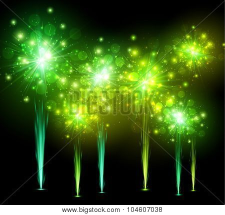 Festive green firework on black background. Vector illustration.