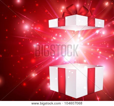 Christmas red background with gift. Vector paper Illustration.