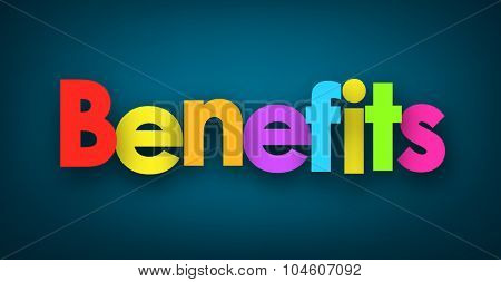Benefits sign on blue background. Vector paper illustration.