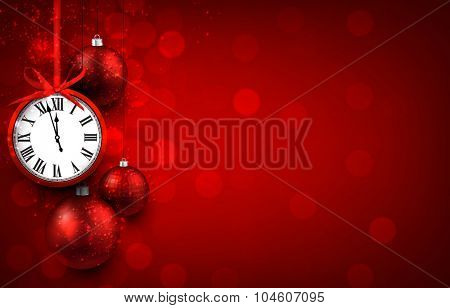 New year red background with christmas balls and vintage clock. Vector illustration with place for text.