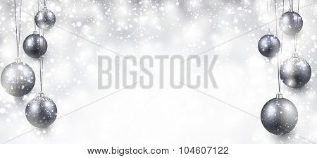 Abstract background with silver christmas balls and place for text. Vector illustration.