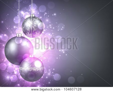 New Year background with balls. Vector paper illustration.