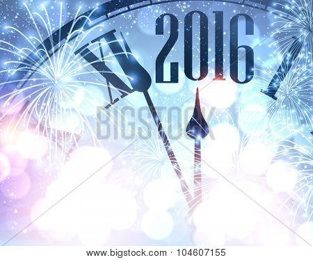 2016 New Year shining background with clock. Vector illustration.