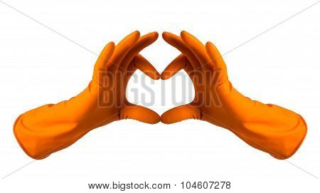 Orange Gloves For Cleaning In The Form Of Heart, Isolated Over White