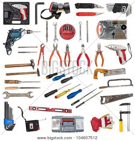 collage with ariety of building tools isolated on white background