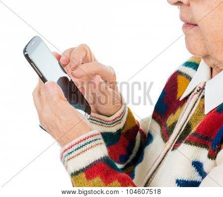 elderly woman using smartphone close-up